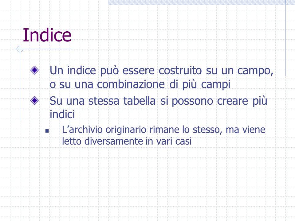 Indice Un indice può essere costruito su un campo, o su una combinazione di più campi Su una stessa tabella si possono creare più indici L'archivio originario rimane lo stesso, ma viene letto diversamente in vari casi