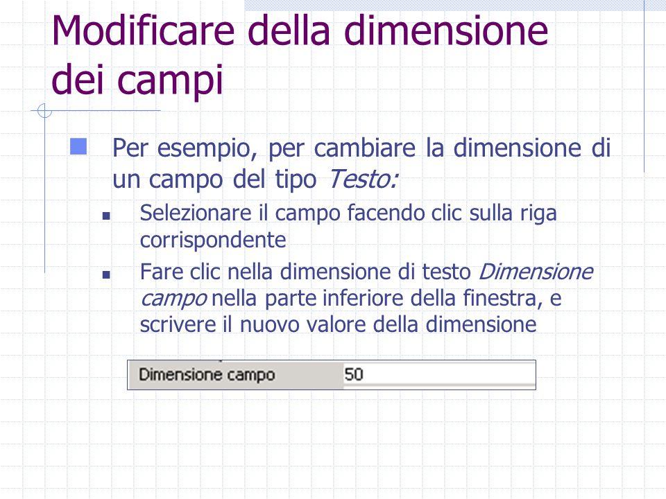 Modificare della dimensione dei campi Per esempio, per cambiare la dimensione di un campo del tipo Testo: Selezionare il campo facendo clic sulla riga corrispondente Fare clic nella dimensione di testo Dimensione campo nella parte inferiore della finestra, e scrivere il nuovo valore della dimensione