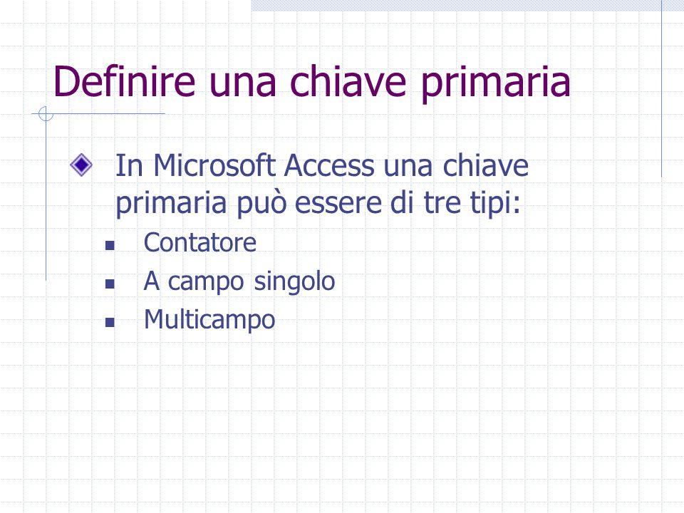 Definire una chiave primaria In Microsoft Access una chiave primaria può essere di tre tipi: Contatore A campo singolo Multicampo