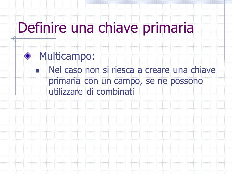 Definire una chiave primaria Multicampo: Nel caso non si riesca a creare una chiave primaria con un campo, se ne possono utilizzare di combinati