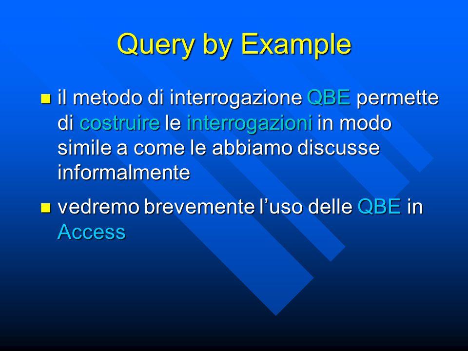 Query by Example il metodo di interrogazione QBE permette di costruire le interrogazioni in modo simile a come le abbiamo discusse informalmente il metodo di interrogazione QBE permette di costruire le interrogazioni in modo simile a come le abbiamo discusse informalmente vedremo brevemente l'uso delle QBE in Access vedremo brevemente l'uso delle QBE in Access