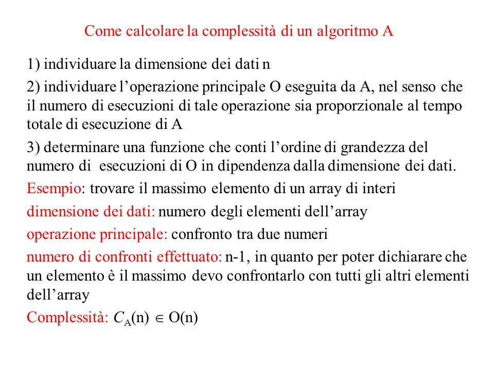 algoritmo di ordinamento selection-sort Idea: Dato l' array: v[0],…,v[n-1] - cercare l'elemento minimo dell'array; - scambiarlo con l'elemento v[0], a meno che v[0] stesso non sia già il minimo; - ordinare l'array v[1],…,v[n-1], dato che l'elemento v[0] è già nella sua posizione definitiva.