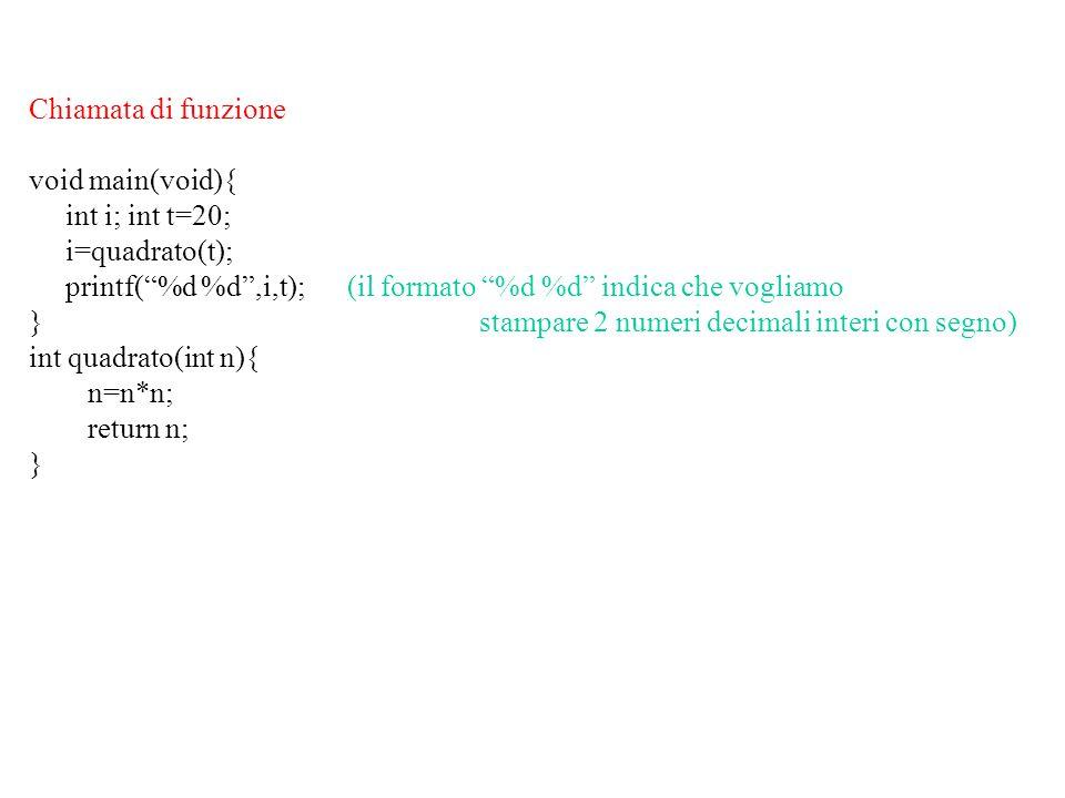 Simulazione (assolutamente approssimata) dell'esecuzione: il programma (compilato) sia allocato in posizioni contigue di memoria.
