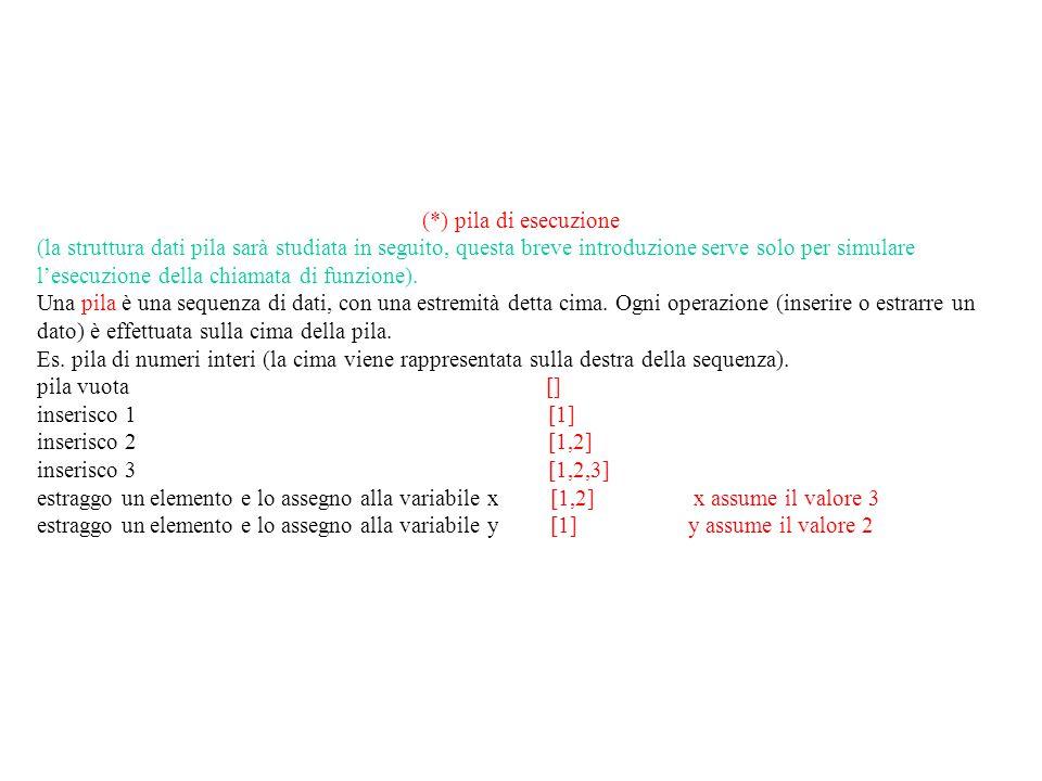 Iterazione e ricorsione Definizione iterativa della funzione fattoriale: fatt(n)=1*2*…*(n-1)*n (n>0) Funzione corrispondente in C: int fatt(int n){ int t,ris=1; for(t=1;t<=n;t++)ris=ris*t; return ris; } Definizione ricorsiva della funzione fattoriale: fatt(1)=1 (n>0) fatt(n+1)=(n+1)*fatt(n) Funzione corrispondente in C: int fatt(int n){ int ris; if(n = 1) return 1; ris = n*fatt(n-1); return ris; }