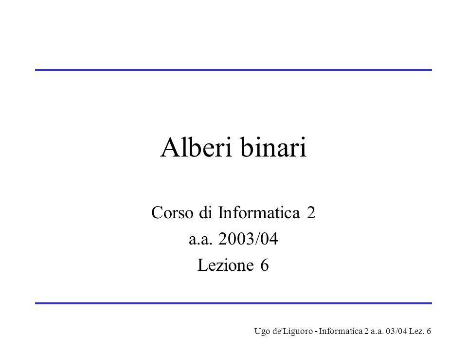 Ugo de'Liguoro - Informatica 2 a.a. 03/04 Lez. 6 Alberi binari Corso di Informatica 2 a.a. 2003/04 Lezione 6
