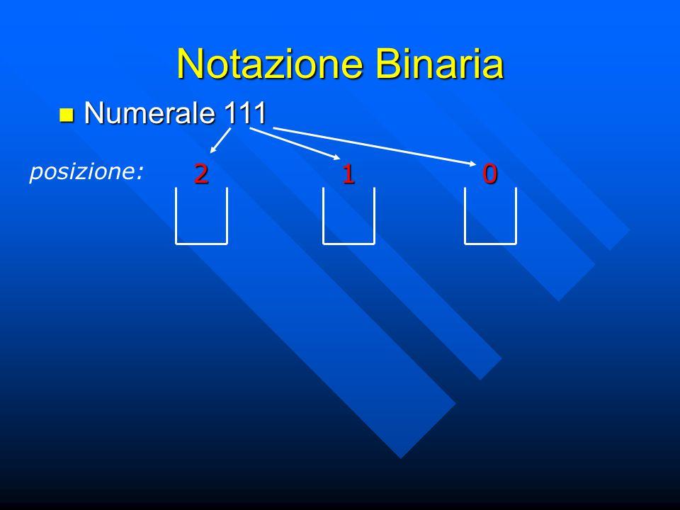 Notazione Binaria Numerale 111 Numerale 111 posizione:201