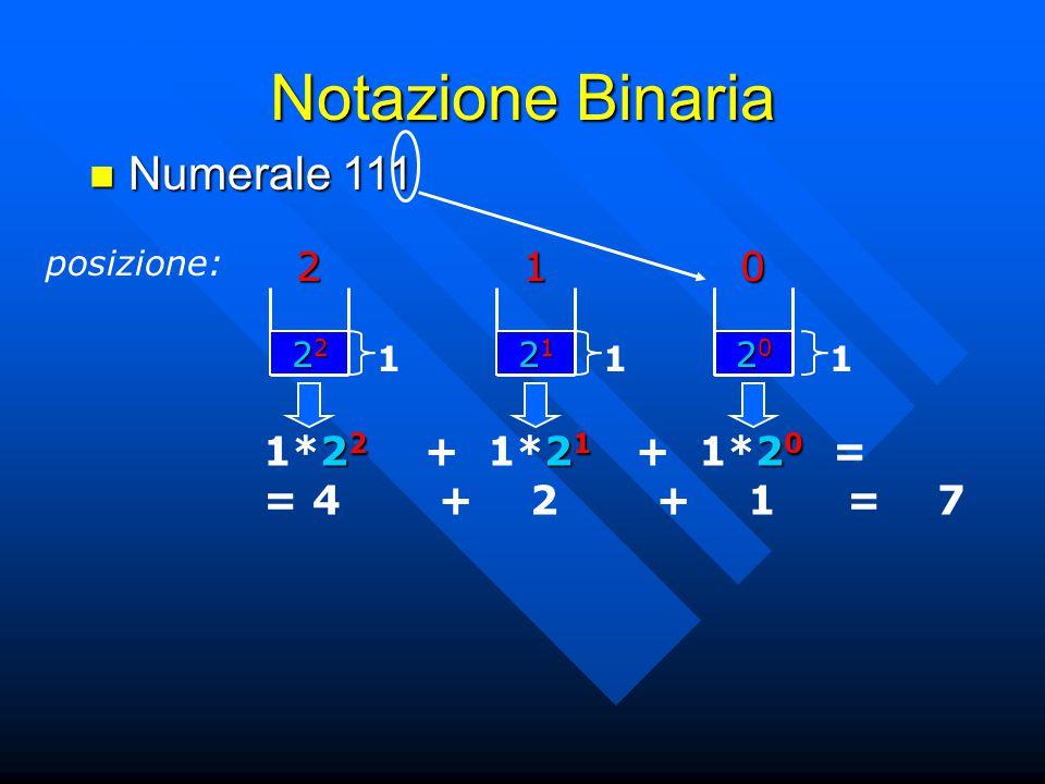 Notazione Binaria Numerale 111 Numerale 111 posizione:201 21212121 1 22222222 1 20202020 1 2 2 2 1 2 0 1*2 2 + 1*2 1 + 1*2 0 = = 4 + 2 + 1 = 7