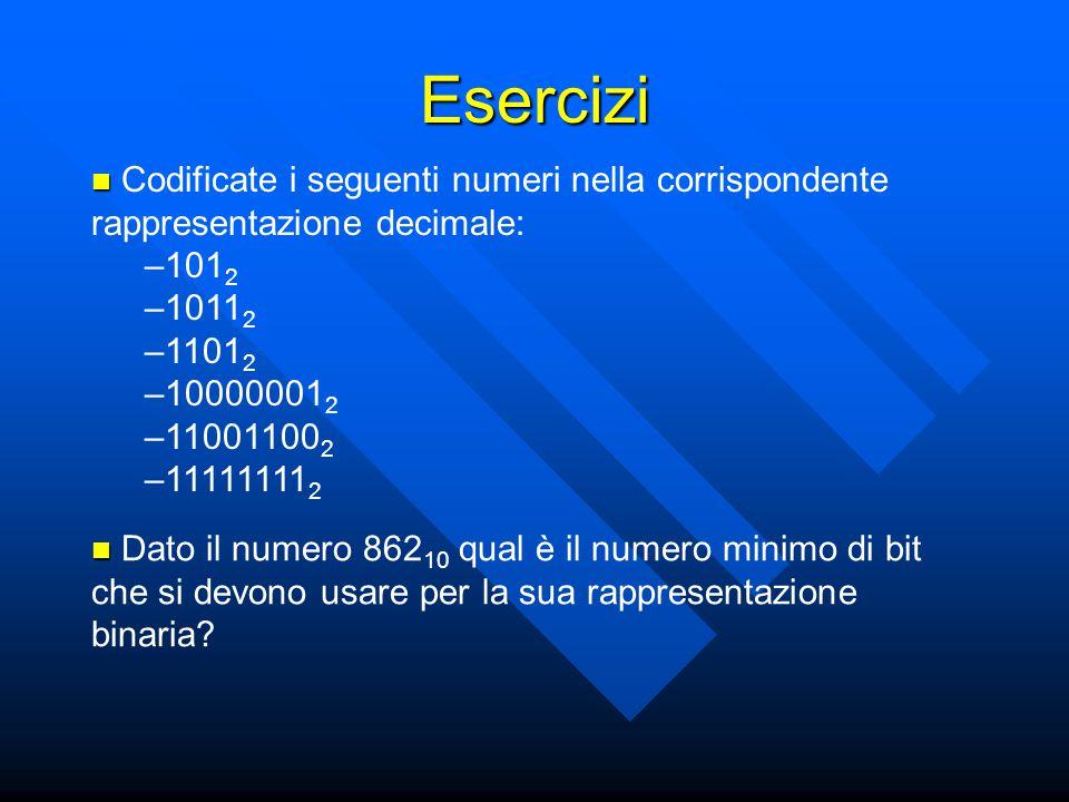 Codificate i seguenti numeri nella corrispondente rappresentazione decimale: –101 2 –1011 2 –1101 2 –10000001 2 –11001100 2 –11111111 2 Esercizi Dato il numero 862 10 qual è il numero minimo di bit che si devono usare per la sua rappresentazione binaria
