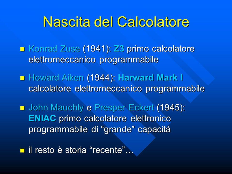 Nascita del Calcolatore il calcolatore nasce da esigenze pratiche di calcolo numerico il calcolatore nasce da esigenze pratiche di calcolo numerico –calcoli matematici (Schickard) –calcolo di imposte fiscali (Pascal) –calcoli scientifici (Leibniz) –calcoli di ingegneria civile (Zuse) sappiamo (e vedremo durante il corso) che oggi i calcolatori sono usati per elaborare informazioni numeriche e non- numeriche (parole, immagini, suoni, …) sappiamo (e vedremo durante il corso) che oggi i calcolatori sono usati per elaborare informazioni numeriche e non- numeriche (parole, immagini, suoni, …)