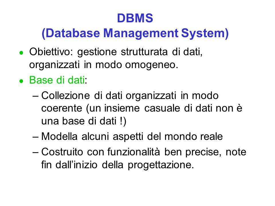 DBMS (Database Management System) l Obiettivo: gestione strutturata di dati, organizzati in modo omogeneo. l Base di dati: –Collezione di dati organiz