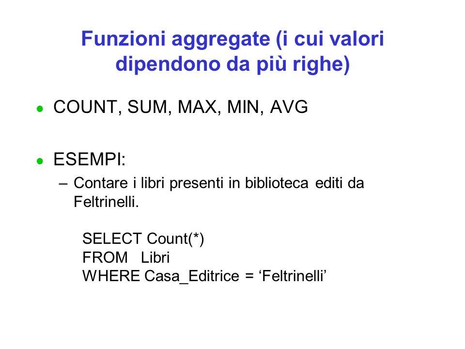 Funzioni aggregate (i cui valori dipendono da più righe) l COUNT, SUM, MAX, MIN, AVG l ESEMPI: –Contare i libri presenti in biblioteca editi da Feltrinelli.