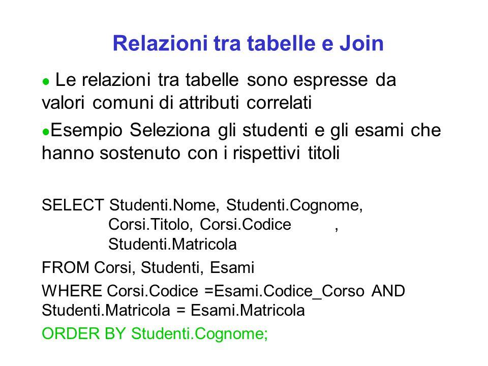 Relazioni tra tabelle e Join l Le relazioni tra tabelle sono espresse da valori comuni di attributi correlati l Esempio Seleziona gli studenti e gli esami che hanno sostenuto con i rispettivi titoli SELECT Studenti.Nome, Studenti.Cognome, Corsi.Titolo, Corsi.Codice, Studenti.Matricola FROM Corsi, Studenti, Esami WHERE Corsi.Codice =Esami.Codice_Corso AND Studenti.Matricola = Esami.Matricola ORDER BY Studenti.Cognome;