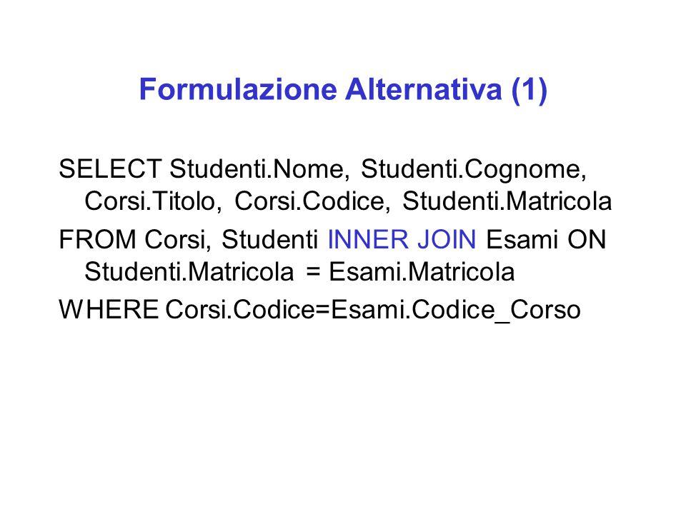 Formulazione Alternativa (1) SELECT Studenti.Nome, Studenti.Cognome, Corsi.Titolo, Corsi.Codice, Studenti.Matricola FROM Corsi, Studenti INNER JOIN Es