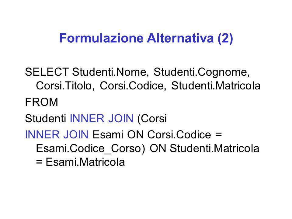 Formulazione Alternativa (2) SELECT Studenti.Nome, Studenti.Cognome, Corsi.Titolo, Corsi.Codice, Studenti.Matricola FROM Studenti INNER JOIN (Corsi IN
