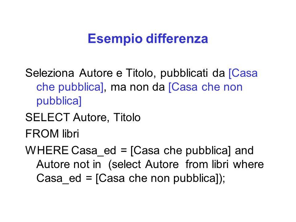 Esempio differenza Seleziona Autore e Titolo, pubblicati da [Casa che pubblica], ma non da [Casa che non pubblica] SELECT Autore, Titolo FROM libri WH
