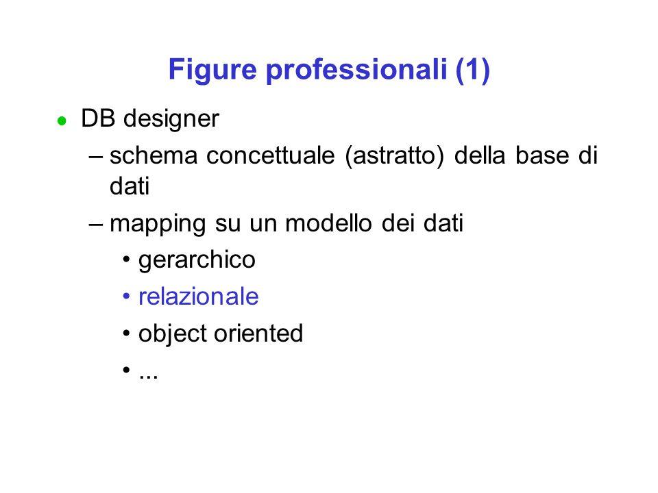 Figure professionali (1) l DB designer –schema concettuale (astratto) della base di dati –mapping su un modello dei dati gerarchico relazionale object