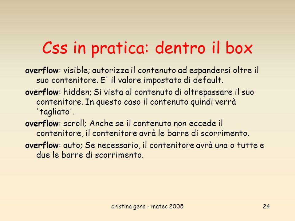cristina gena - matec 200524 Css in pratica: dentro il box overflow: visible; autorizza il contenuto ad espandersi oltre il suo contenitore. E' il val