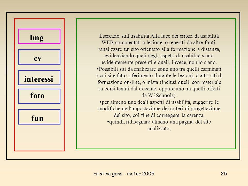 cristina gena - matec 200525 Esercizio sull'usabilità Alla luce dei criteri di usabilità WEB commentati a lezione, o reperiti da altre fonti: analizza