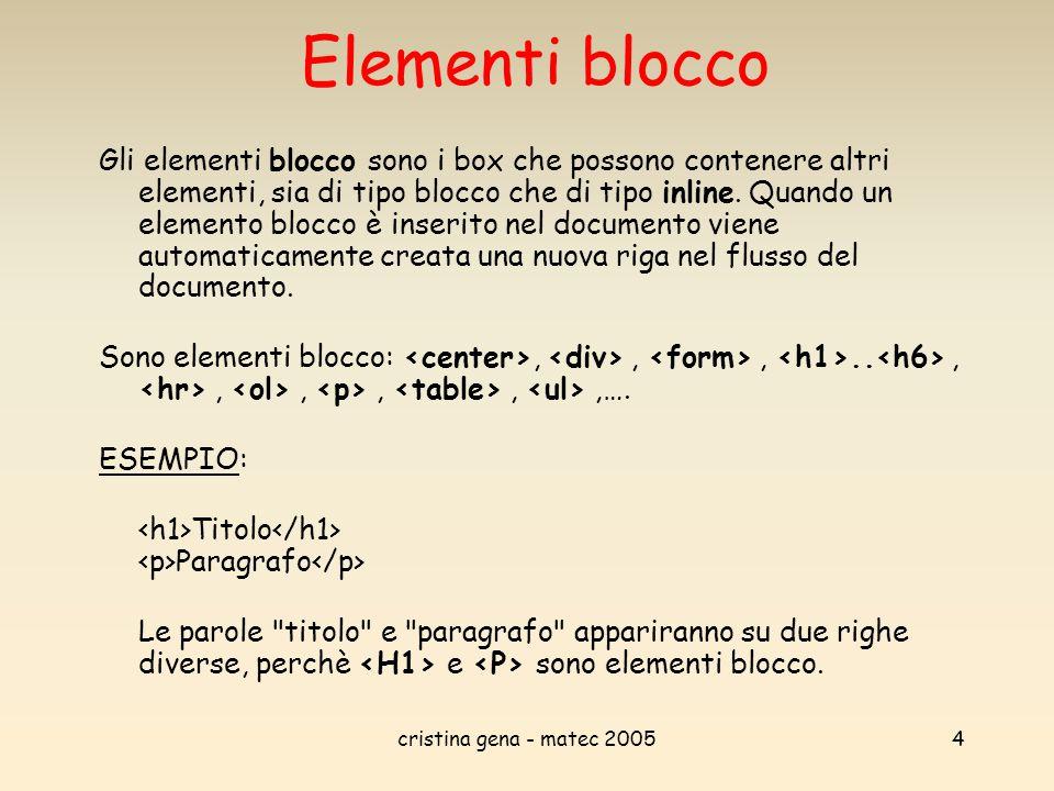 cristina gena - matec 20055 Elementi inline Gli elementi inline non possono contenere elementi blocco, ma solo altri elementi inline (oltre che, ovviamente, il loro stesso tipo di contenuto, essenzialmente testo o immagini).