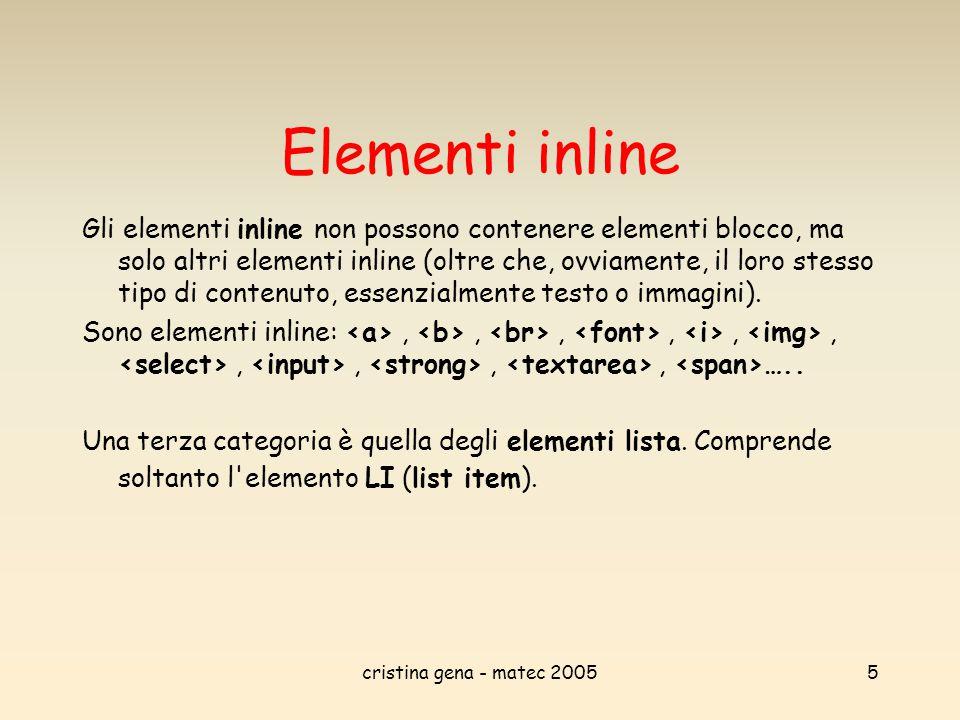 cristina gena - matec 20055 Elementi inline Gli elementi inline non possono contenere elementi blocco, ma solo altri elementi inline (oltre che, ovvia