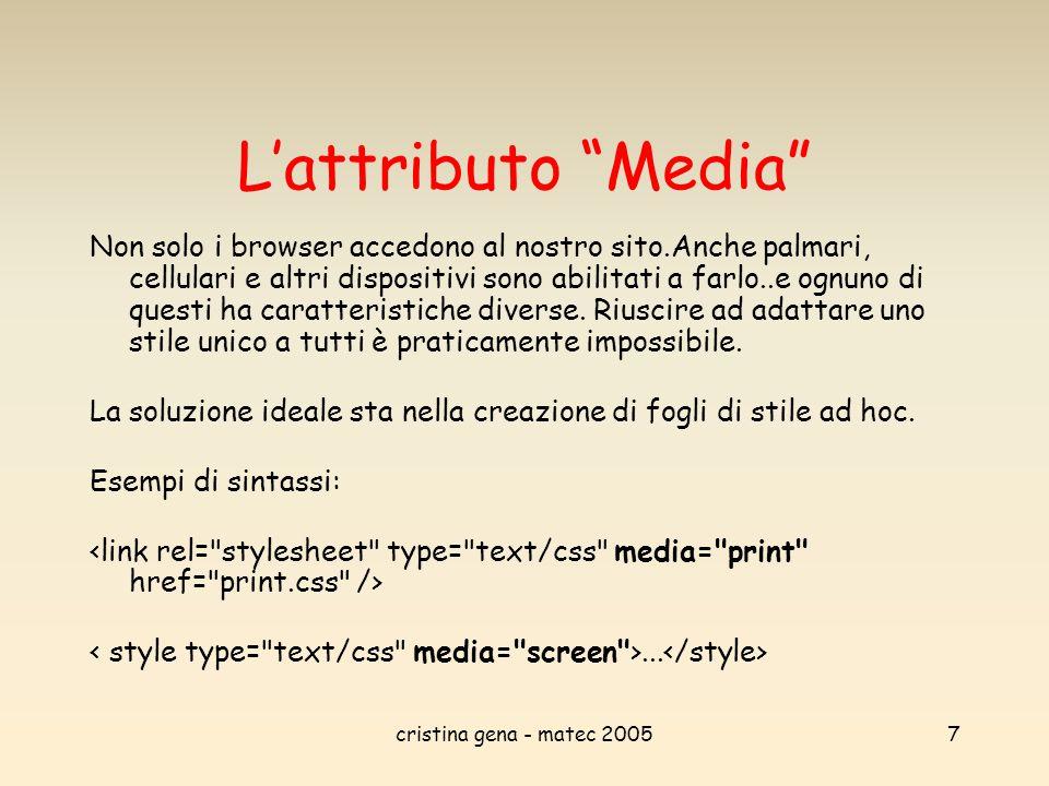 """cristina gena - matec 20057 L'attributo """"Media"""" Non solo i browser accedono al nostro sito.Anche palmari, cellulari e altri dispositivi sono abilitati"""