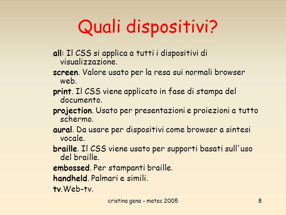 cristina gena - matec 20058 Quali dispositivi? all: Il CSS si applica a tutti i dispositivi di visualizzazione. screen. Valore usato per la resa sui n