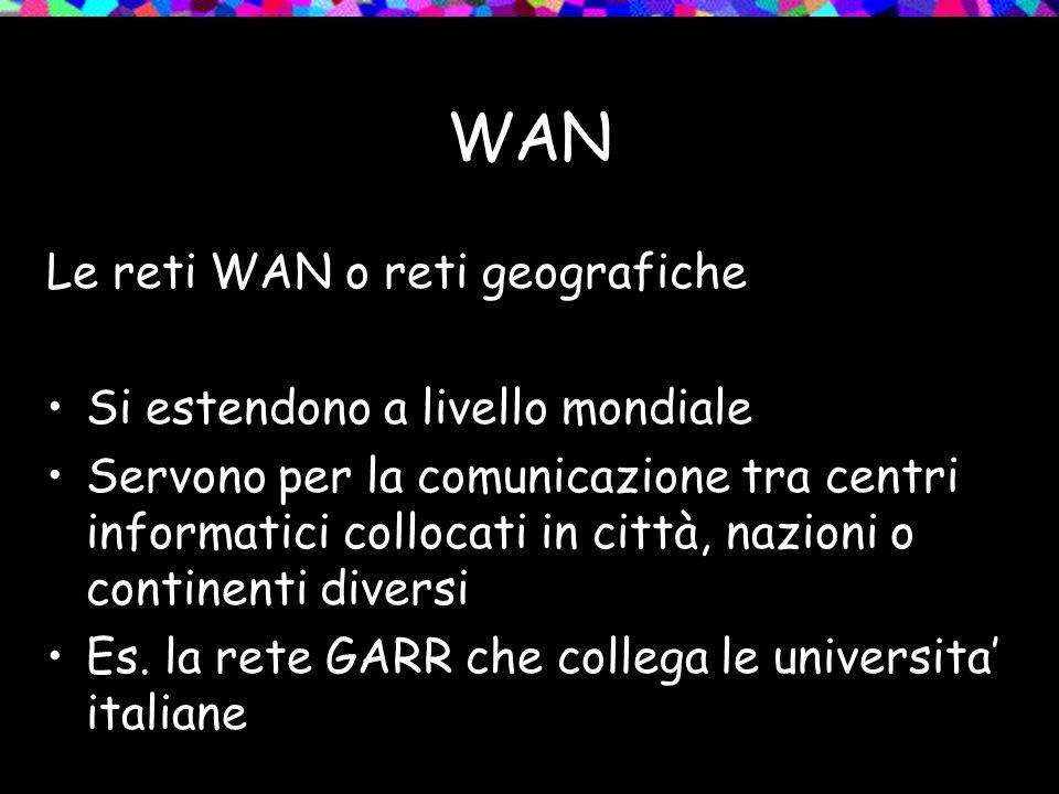 WAN Le reti WAN o reti geografiche Si estendono a livello mondiale Servono per la comunicazione tra centri informatici collocati in città, nazioni o c