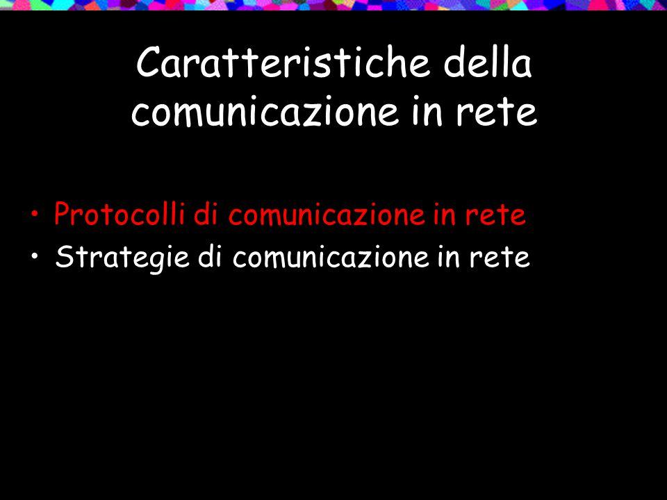 Caratteristiche della comunicazione in rete Protocolli di comunicazione in rete Strategie di comunicazione in rete