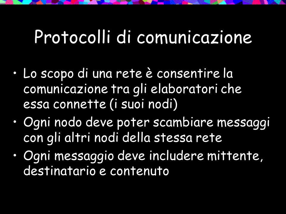 Protocolli di comunicazione Lo scopo di una rete è consentire la comunicazione tra gli elaboratori che essa connette (i suoi nodi) Ogni nodo deve pote