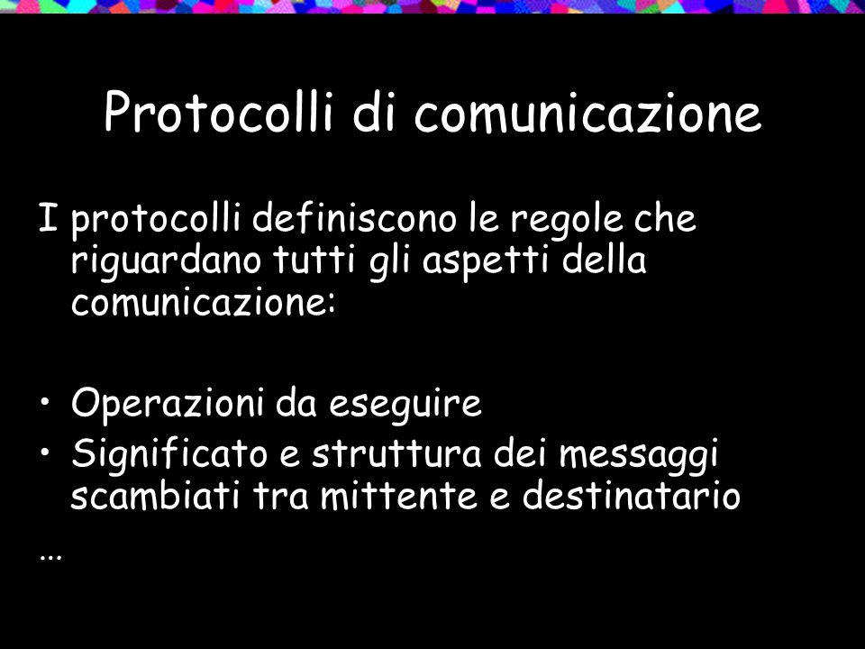 Protocolli di comunicazione I protocolli definiscono le regole che riguardano tutti gli aspetti della comunicazione: Operazioni da eseguire Significat
