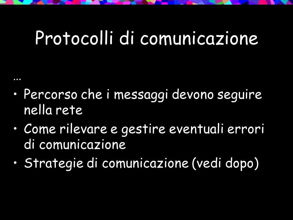 Protocolli di comunicazione … Percorso che i messaggi devono seguire nella rete Come rilevare e gestire eventuali errori di comunicazione Strategie di
