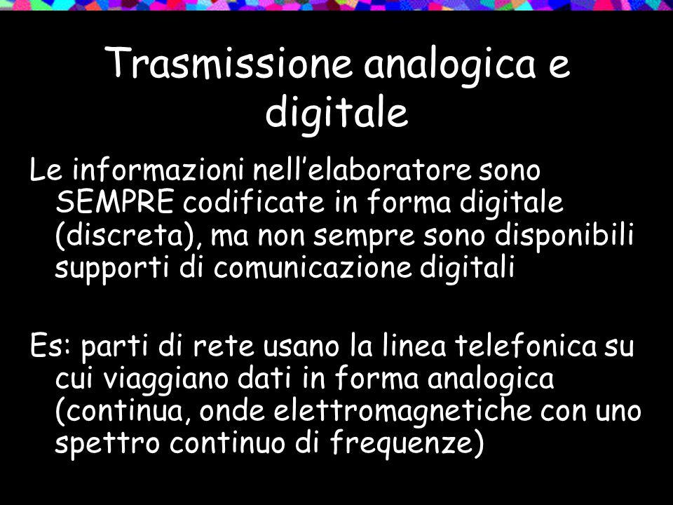 Trasmissione analogica e digitale Le informazioni nell'elaboratore sono SEMPRE codificate in forma digitale (discreta), ma non sempre sono disponibili