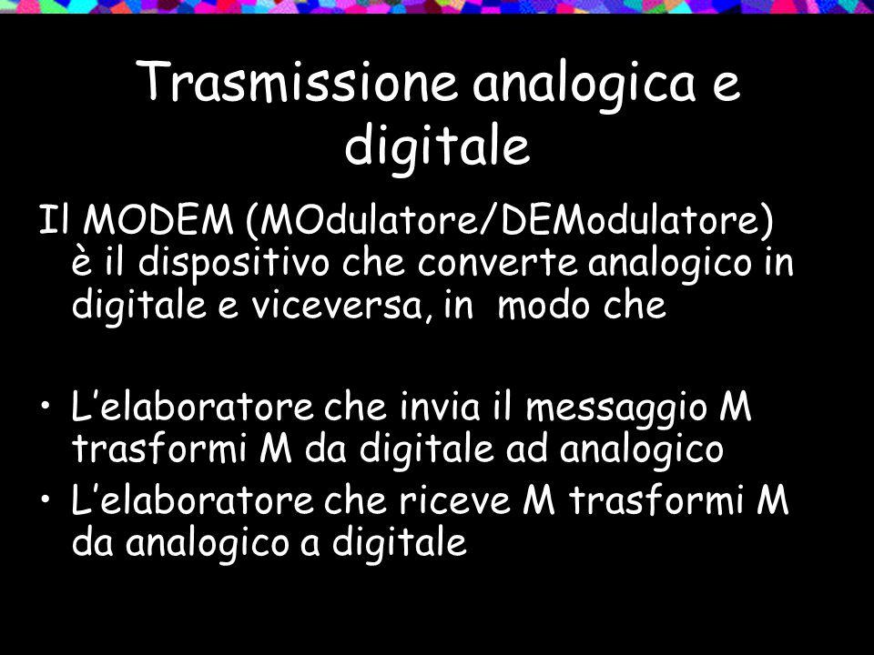 Trasmissione analogica e digitale Il MODEM (MOdulatore/DEModulatore) è il dispositivo che converte analogico in digitale e viceversa, in modo che L'el