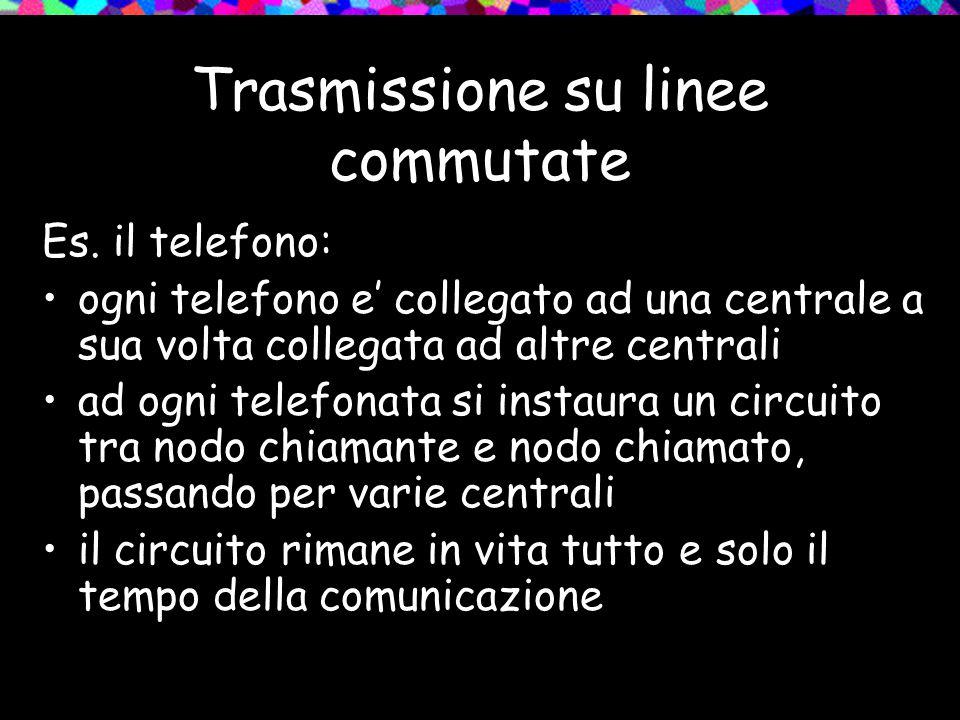 Trasmissione su linee commutate Es. il telefono: ogni telefono e' collegato ad una centrale a sua volta collegata ad altre centrali ad ogni telefonata