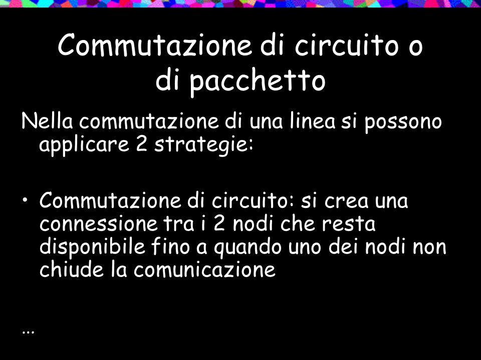 Commutazione di circuito o di pacchetto Nella commutazione di una linea si possono applicare 2 strategie: Commutazione di circuito: si crea una connes