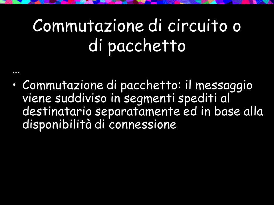 Commutazione di circuito o di pacchetto … Commutazione di pacchetto: il messaggio viene suddiviso in segmenti spediti al destinatario separatamente ed