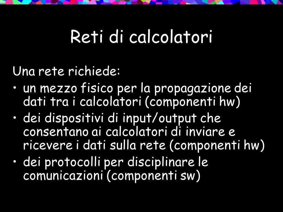 Reti di calcolatori Una rete richiede: un mezzo fisico per la propagazione dei dati tra i calcolatori (componenti hw) dei dispositivi di input/output
