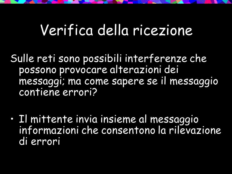Verifica della ricezione Sulle reti sono possibili interferenze che possono provocare alterazioni dei messaggi; ma come sapere se il messaggio contien