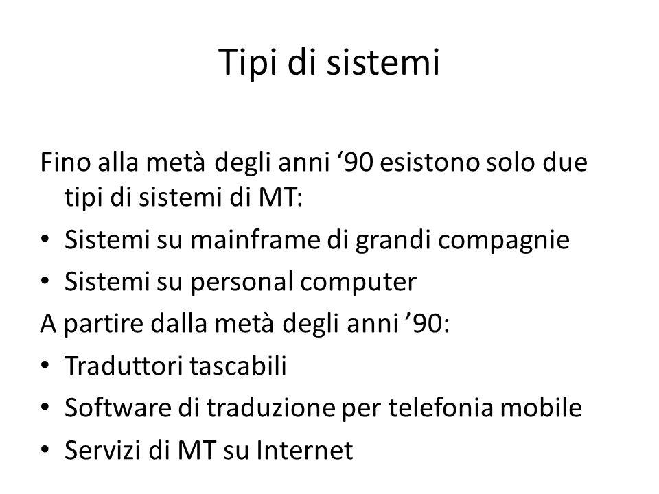 Tipi di sistemi Fino alla metà degli anni '90 esistono solo due tipi di sistemi di MT: Sistemi su mainframe di grandi compagnie Sistemi su personal computer A partire dalla metà degli anni '90: Traduttori tascabili Software di traduzione per telefonia mobile Servizi di MT su Internet