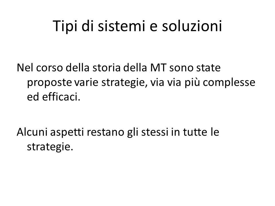 Tipi di sistemi e soluzioni Nel corso della storia della MT sono state proposte varie strategie, via via più complesse ed efficaci.