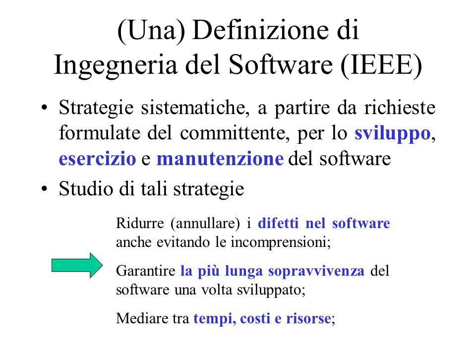 (Una) Definizione di Ingegneria del Software (IEEE) Strategie sistematiche, a partire da richieste formulate del committente, per lo sviluppo, eserciz