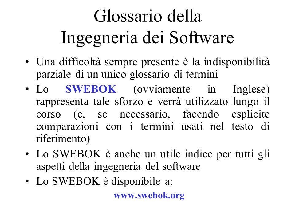Glossario della Ingegneria dei Software Una difficoltà sempre presente è la indisponibilità parziale di un unico glossario di termini Lo SWEBOK (ovvia
