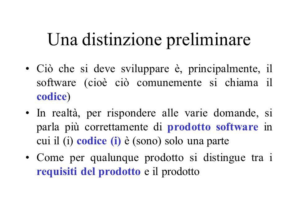 Alcune risposte D1 richiede ciò che si chiama anche uno studio di fattibilità il quale contiene una descrizione di massima di come s'intende procedere, quanto costa, quante e quali risorse sono necessarie e in quali tempi D2 richiede la comprensione del software pre-esistente (in azienda o sul mercato) e delle possibilità di riuso (di un qualche tipo) D1 e D3 richiedono di capire, in funzione del rischio, quale sia il modo di procedere comprendendo quale sia il modello di processo da adottare D3 richiede la comprensione, sufficientemente profonda, di cosa deve essere fatto attraverso l'uso della specifica dei requisiti D4 richiede un modo sistematico di passare dalla specifica dei requisiti alla specifica del software e alla sua implementazione D4 e D5 richiedono un modo sistematico per riconoscere/stabilire i legami tra il software realizzato ed i requisiti specificati D6 richiede tracciatura esplicita di come il software si è sviluppato nel passato e come si sviluppa nel presente, insieme ad elevate capacità di analisi storica e in presenza di modelli generali per la qualità del processo Modello del Processo (chiamato talvolta ciclo di vita del software)