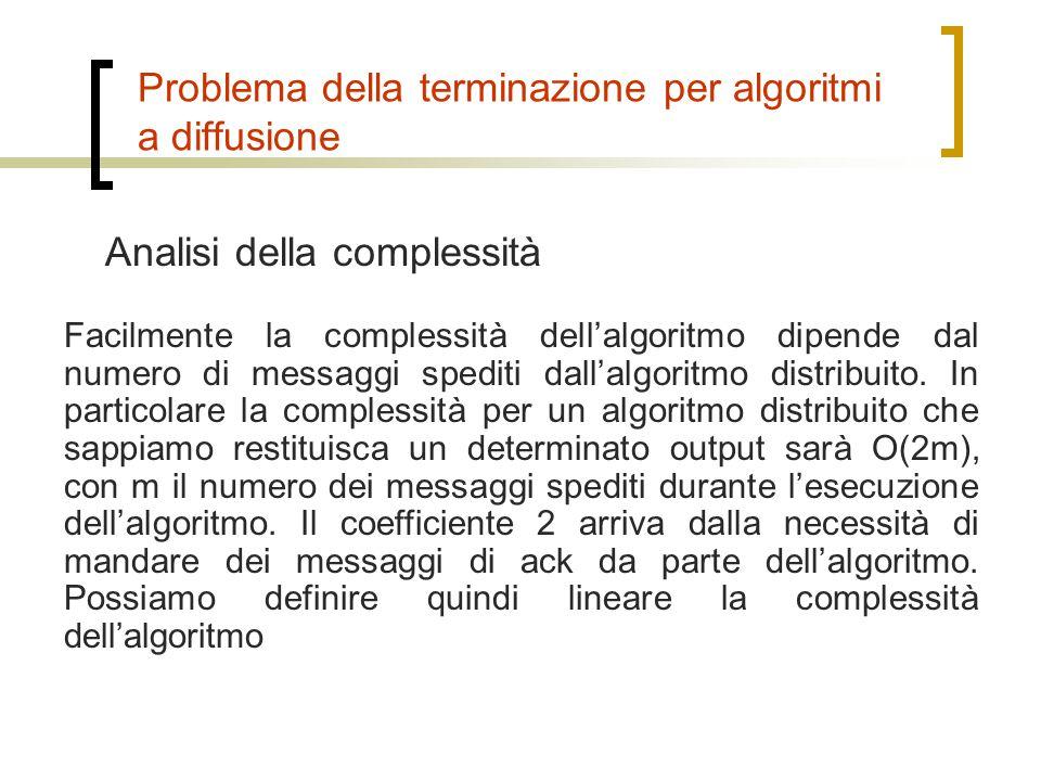 Analisi della complessità Problema della terminazione per algoritmi a diffusione Facilmente la complessità dell'algoritmo dipende dal numero di messag