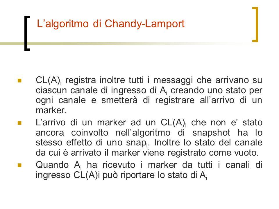 L'algoritmo di Chandy-Lamport CL(A) i registra inoltre tutti i messaggi che arrivano su ciascun canale di ingresso di A i creando uno stato per ogni c