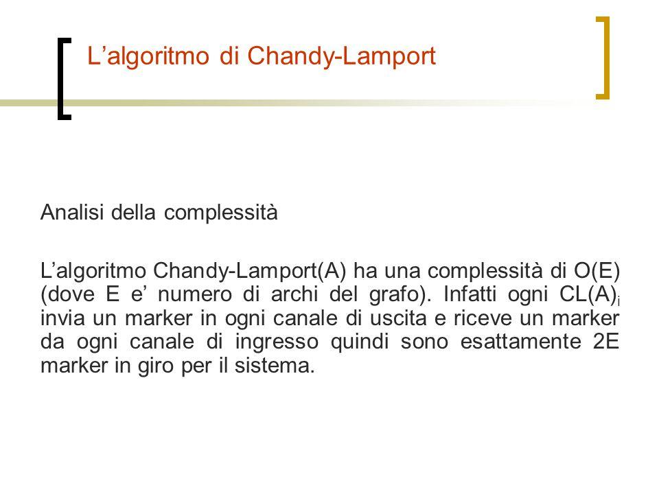 L'algoritmo di Chandy-Lamport Analisi della complessità L'algoritmo Chandy-Lamport(A) ha una complessità di O(E) (dove E e' numero di archi del grafo)
