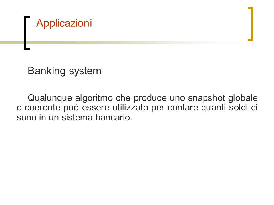 Applicazioni Banking system Qualunque algoritmo che produce uno snapshot globale e coerente può essere utilizzato per contare quanti soldi ci sono in