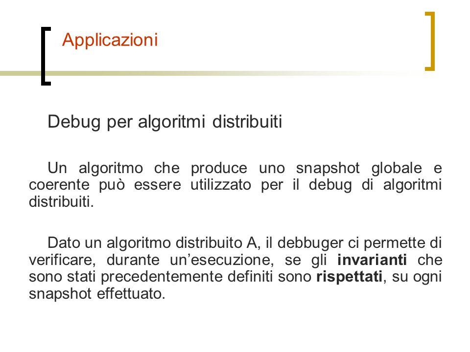Applicazioni Debug per algoritmi distribuiti Un algoritmo che produce uno snapshot globale e coerente può essere utilizzato per il debug di algoritmi