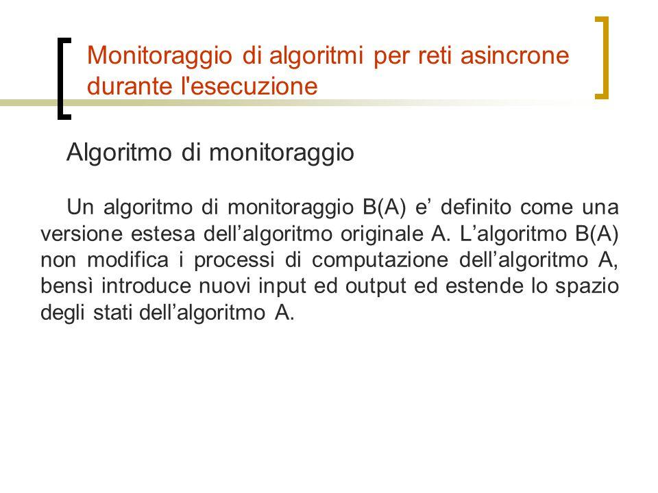 Monitoraggio di algoritmi per reti asincrone durante l'esecuzione Un algoritmo di monitoraggio B(A) e' definito come una versione estesa dell'algoritm