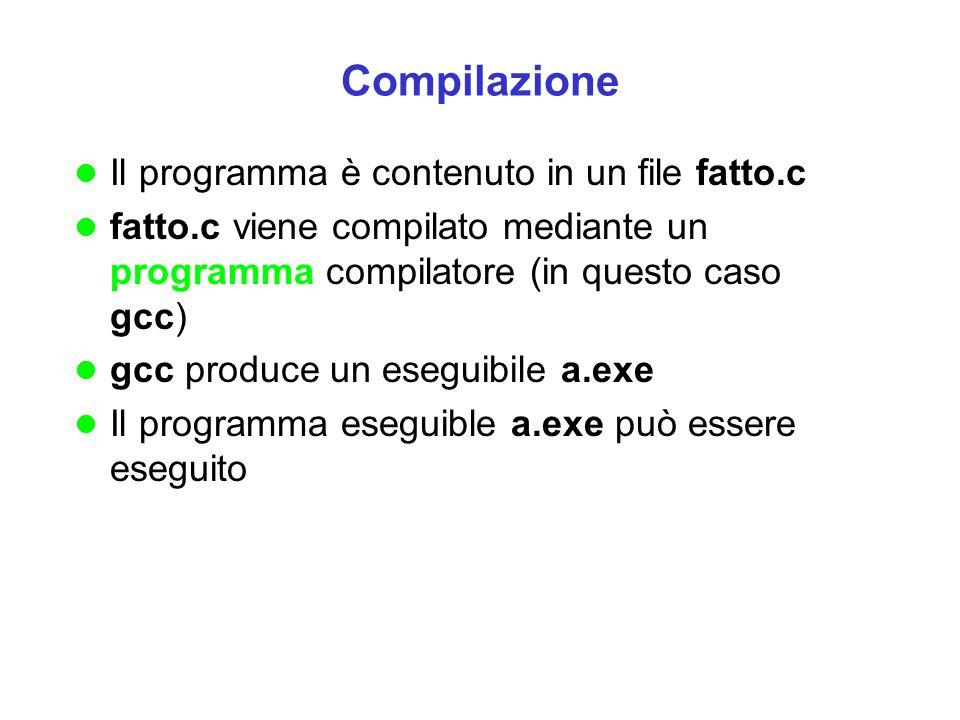 Compilazione Il programma è contenuto in un file fatto.c fatto.c viene compilato mediante un programma compilatore (in questo caso gcc) gcc produce un